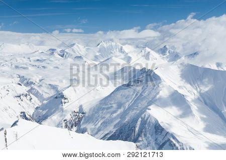 Snow Mountains In Georgia, Gudauri. Viewing Point