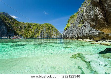 Beautiful Tropical Blue Lagoon. Scenic Landscape With Sea Bay And Mountain Islands, El Nido, Palawan