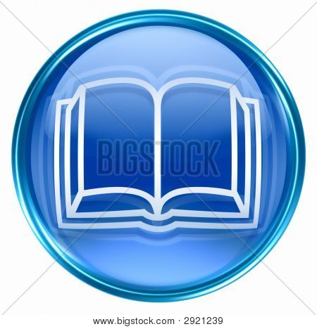 Book Icon Blue, Isolated On White Background.