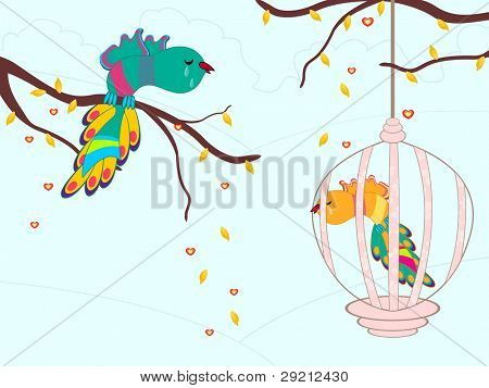 Vector illustration of colorful beautiful birds crying in cage on seamless nature background for Valentines Day and other occasions.
