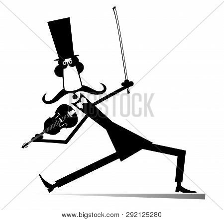 Cartoon Long Mustache Violinist Illustration Isolated. Smiling Mustache Man In The Top Hat With Viol