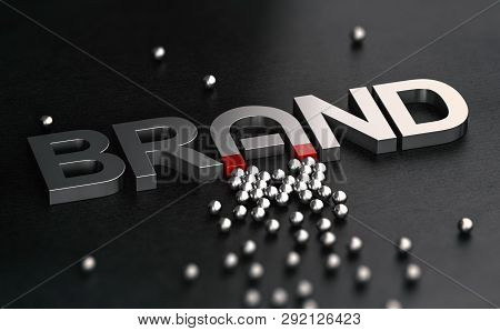 3d Illustration Of A Brand Name With The Letter A Shaped Like Horseshoe Magnet. Metallic Word Over B
