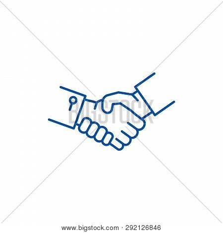 Shake Hands Line Icon Concept. Shake Hands Flat  Vector Symbol, Sign, Outline Illustration.