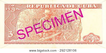 A Single 3 Cuban Peso Bank Note Reverse Specimen