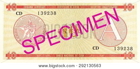 A Single 10 Cuban Peso Exchange Certificate Reverse Specimen