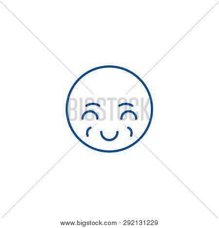 Sly Emoji Line Icon Concept. Sly Emoji Flat  Vector Symbol, Sign, Outline Illustration.
