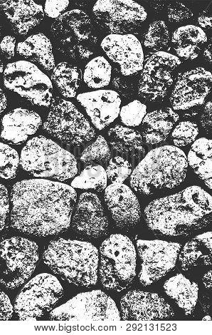 Distress Sea Or Ocean Coast Beach Stones, Pebbles Texture. Eps8 Vector.