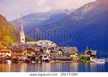 Hallstatt Village On Hallstatter See Lake In High Alps Mountains, Upper Austria, Salzkammergut. Land