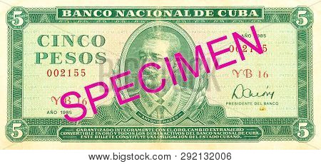 A Single 5 Cuban Peso Bank Note Obverse Specimen