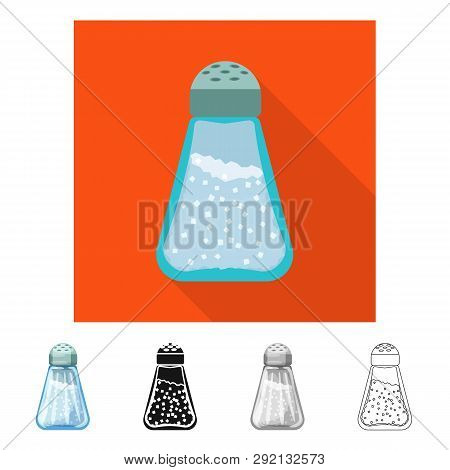 Isolated Object Of Saltcellar  And Seasoning Icon. Set Of Saltcellar  And Glass  Stock Symbol For We