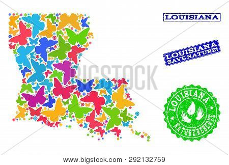 Ecological Combination Of Bright Mosaic Map Of Louisiana State And Unclean Seal Stamps With Save Nat