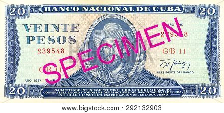 A Single 20 Cuban Peso Bank Note Obverse Specimen