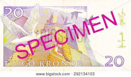 A Single 20 Swedish Krona Bank Note Reverse Specimen