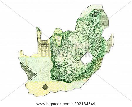 10 South African Rand Bank Note In Shape Of South Africa