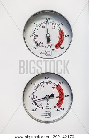 Two Barometers Indicate The Pressure Of A Sterilizer