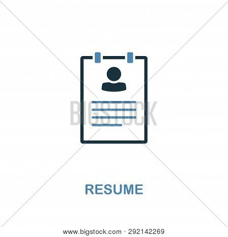 Resume Icon. Pixel Perfect. Monochrome Resume Icon Symbol From Human Resources Collection. Two Color