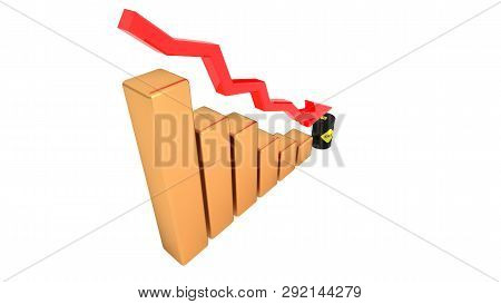 Falling Oil Prices, Oil Becomes Cheaper. Oil Barrel. 3d Illustration.