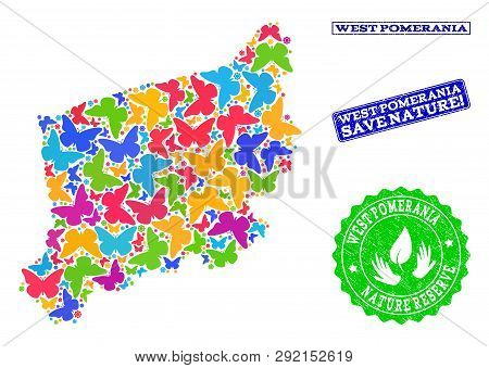 Ecological Combination Of Bright Mosaic Map Of West Pomerania Province And Rubber Stamps With Save N
