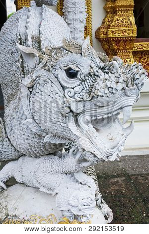 Dragon At Wat Buppharam In The Old Town Of Chiang Mai, Thailand