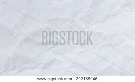 Crumpled White Paper Texture Or Paper Background. Seamless Paper For Design. Close-up Paper Texture