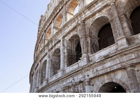 The Beautiful Ancient Ruins Of The Colosseum In Rome Italy