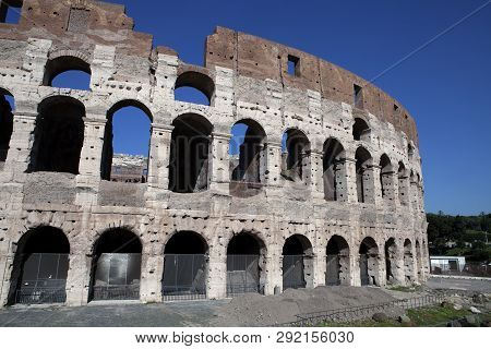 Looking At The Three Tiers Of The Colosseum In Rome
