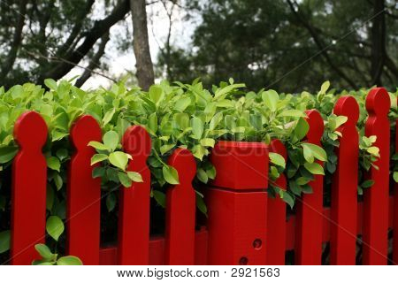 Red Fence With Green Leaves