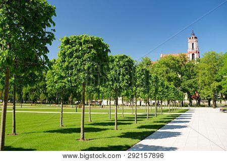 Newly Renovated Lukiskes Square In Vilnius. Sunny Summer Day In Unesco-inscribed Old Town Of Vilnius