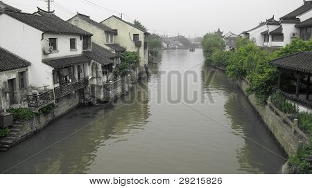 Rural Chinese Village River Scene