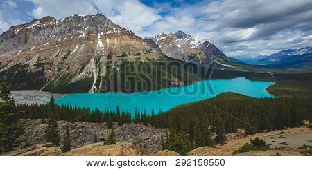 Pano Of The Beautiful Blue Peyto Lake In The Canadian Rockies In Banff National Park
