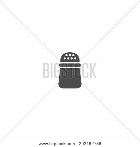 Table Salt Shaker Black Isolated Vector Icon. Saltcellar Simple Silhouette Vector Sign.