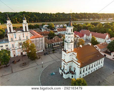 Aerial View Of Kaunas Town Hall Square At The Heart Of The Old Town, Kaunas, Lithuania. Sunny Summer