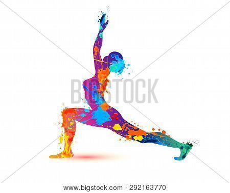 Yoga Asana Virabhadrasana. Warrior Pose. Silhouette Of Watercolor Splash Paint