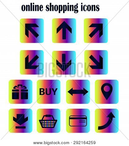 Collection Of Flat Vector Icons - Online Shopping Via Online Store. Isolated Neon Icons, Buttons For