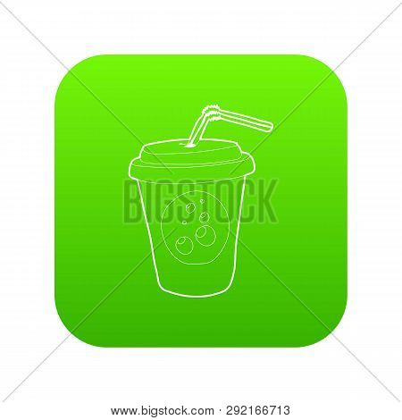 Plastic Cup Of Limonade Icon Green Isolated On White Background