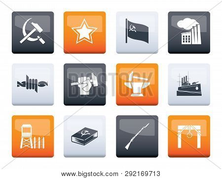 Communism, Socialism And Revolution Icons Over Color Background - Vector Icon Set