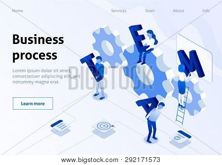 Team Building Metaphor Isometric Business Banner. Cooperation of Businessmen and Businesswomen in Creation Team. Landing Page for Corporate Webdesign. 3D Vector Illustration for Business poster