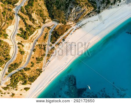 Aerial View Of Myrtos Beach, The Most Famous And Beautiful Beach Of Kefalonia, A Large Coast With Tu