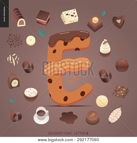 Dessert font - letter E - modern flat vector concept digital illustration of temptation font, sweet lettering. Caramel, toffee, biscuit, waffle, cookie, cream and chocolate letters poster