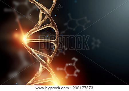 Creative Background, Dna Structure, Golden Dna Molecule On Gray Background, Ultraviolet. 3D Render,