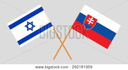 Slovakia And Israel. The Slovakian And Israeli Flags. Official Colors. Correct Proportion. Vector Il