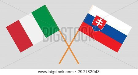 Slovakia And Italy. The Slovakian And Iitalian Flags. Official Colors. Correct Proportion. Vector Il