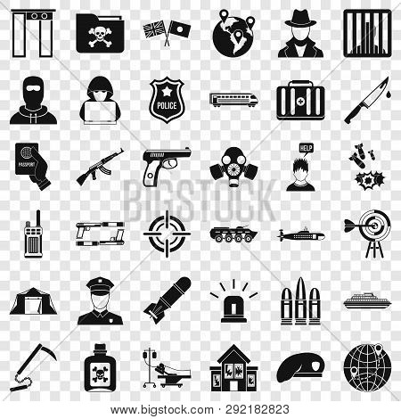 Antiterrorist Organization Icons Set. Simple Style Of 36 Antiterrorist Organization Icons For Web Fo