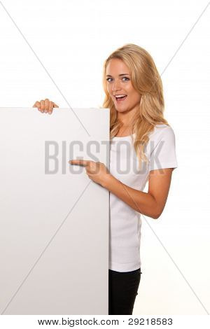 woman with empty poster to advertise