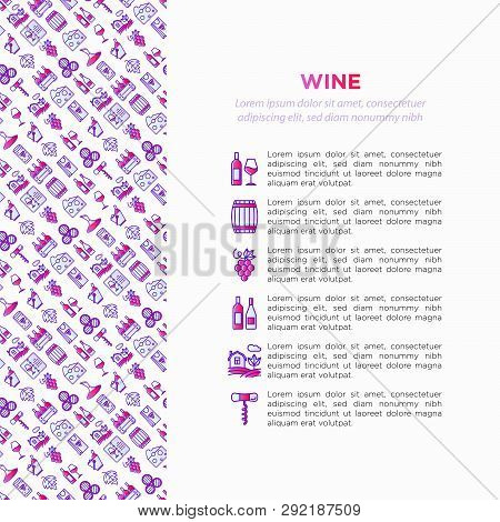 Wine Concept With Thin Line Icons: Corkscrew, Wine Glass, Cork, Grapes, Barrel, List, Decanter, Chee
