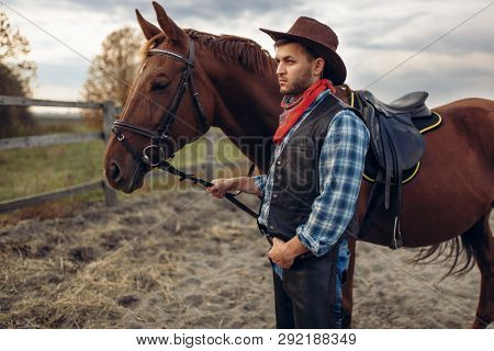 Cowboy poses with horse on texas farm