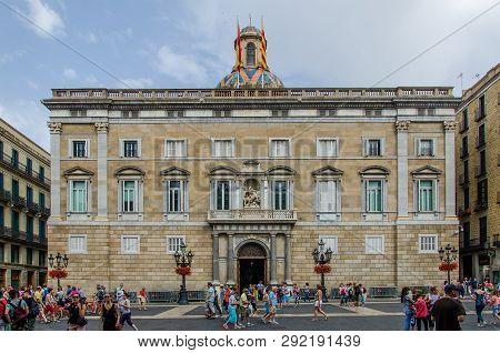 Palau De La Generalitat De Catalunya On The Square Of Sant Jaume. June 2014, Barcelona