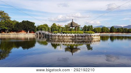 The Garden With The Lake Of Temple Of Confucius, Jianshui, Yunnan, China. This Temple Is One Of The