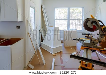 Details New Home Installing Construction Building Industry Remodel Modern Kitchen Interior Cabinet