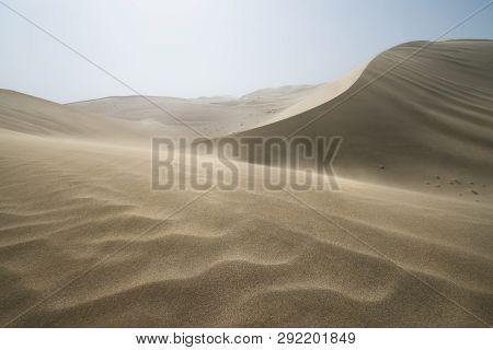 Sand Dunes Landscape And Waves Of Sand In The Gobi Desert In China, Gobi Desert, China